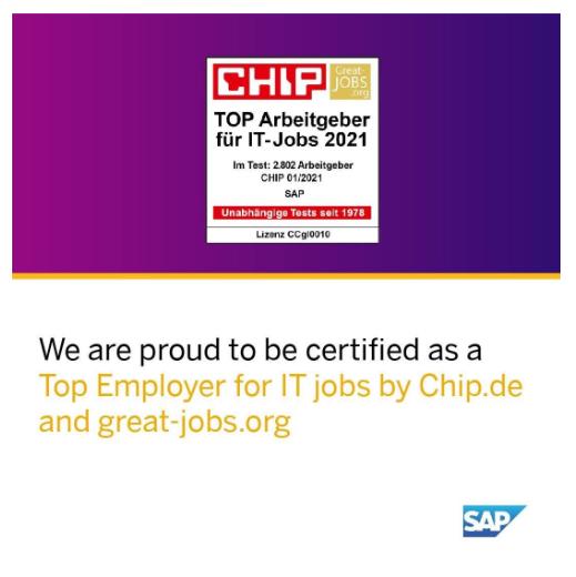SAP Arbeitgeber von`Great Jobs & CHIP